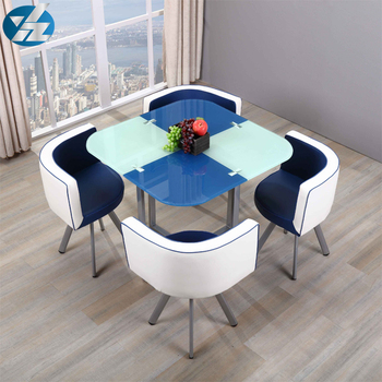 stainless steel furniture 4 seater glass table and chair