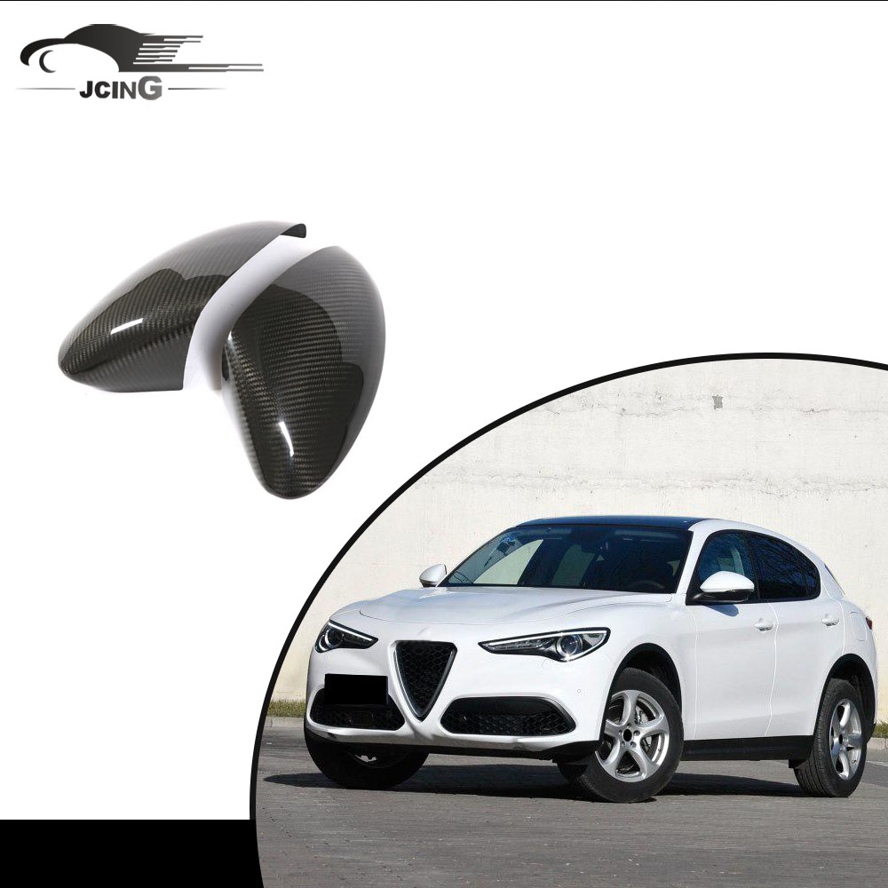 8PCS Carbon Fiber Outer Door Handle Cover Trim For Alfa Romeo Stelvio 2017 2018
