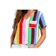 Fashionable Women Rainbow Colored Stripes Short Sleeve Crop Top