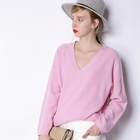 Custom knit wholesale fancy V-neck cashmere wool women sweater