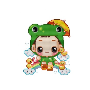 Nkf The Frog Baby Cartoon Style Funny Design Counted Cross Stitch Patterns  For Kids C572 - Buy Counted Cross Stitch Patterns For Baby,Cross Stitch