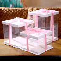 Wholesale Disposable Strong Foldable Personalized Tall Clear Cake Box Custom Plastic Transparent Cake Boxes