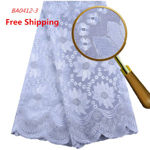 1558 Free Shipping Swiss Voile Pure White Lace Fabric Cord Laces For Nigerian Party