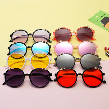 New Fashion Funny Cat Ear Children Sunglasses Cheap Kid Fashion UV400 Sunglasses