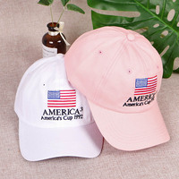Classic Style America's cup 1992 Embroidery Adjustable Snapback Cotton Baseball Cap With American Flag For USA