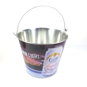 [Hot-sale promotional inventory] Full Color Logo 5QT Metal Beer Bucket, Chinese factory tin Metal Ice Bucket
