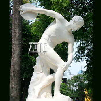 Life Size Marble Nude Sports Man Athlete Sculpture The Discus Throwers Statue