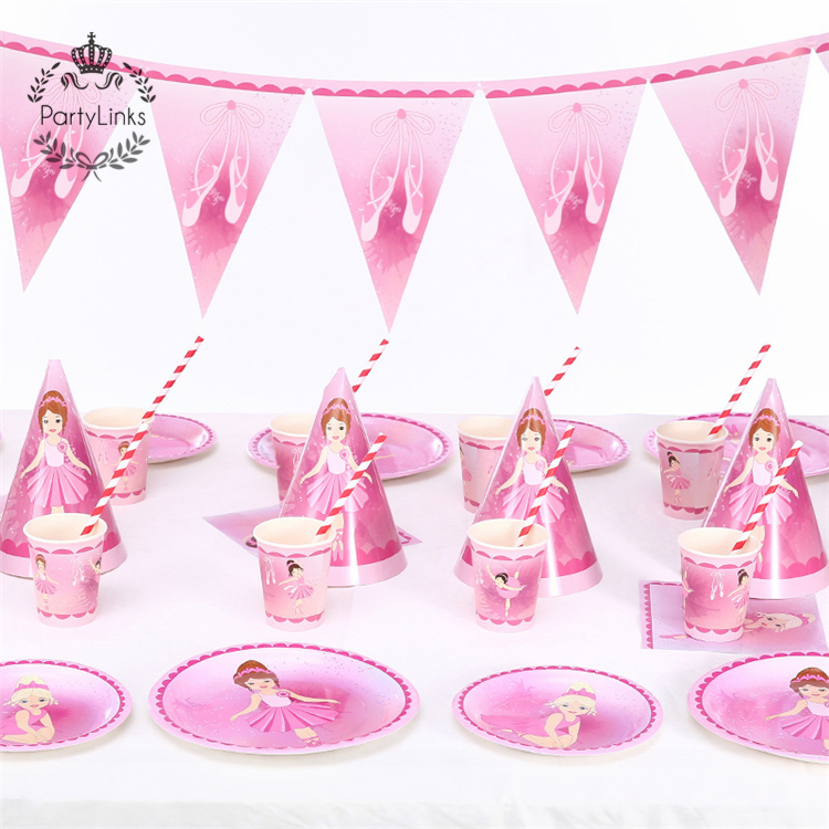 Roze Ballerina Prinses Feestartikelen Kids Birthday Party Decoration Set Baby Meisje Douche Pack Event Party Leveranties