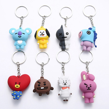 Coreia do Kpop Bt21 borracha keychain Anime 3D BTS kpop keychain