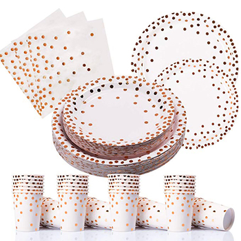 2019 New Design Disposable Rose Gold Paper Dinnerware Set Paper Cup Plate Napkin Birthday Wedding Party Supplies Tableware Sets