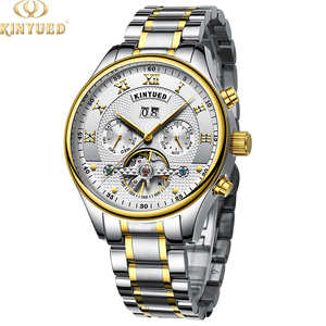 White Dial Fashion Automatic Watch Tourbillon Calendar Logo Mechanical Kinyued Wrist Y6fbyI7gv