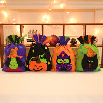 wholesale party decoration halloween candy bag kawaii hand bag pumpkin cloth gift bag