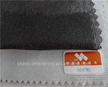(6047W)Stitched 100% Polyester Double Dot Fusible Nonwoven Interlining For Shirts