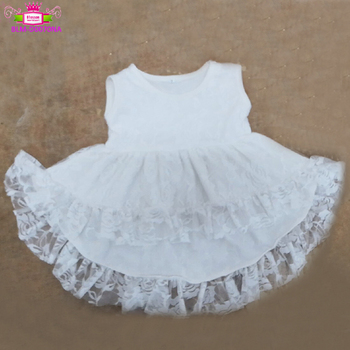 Wholesale Baby boutique dresses girl clothing manufacture party tank top white lace ruffle high low top dress