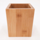Custom office square wooden bamboo pen storage holder pencil organizer stand container