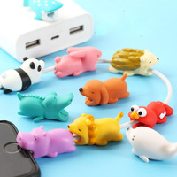 Promotional pvc cute animal bite cable protector cable phone cable protector