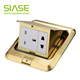 Hot Sale Brass Material Pop Up Floor Box Socket 13a+Universal floor Outlet electric pop up sockets