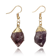 2019 New Arrival Banhado A Ouro <span class=keywords><strong>Ágata</strong></span> Druzy Pedra Dangle Natural Roxo Irregular Brincos De Quartzo