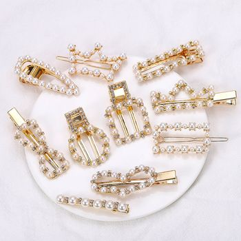 2019 Hot Sale Fashion Pearl Crown Square Oval Heart Shape Hairpin Hair Clips