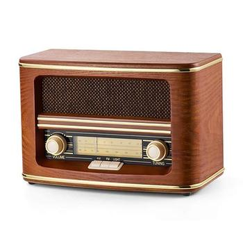 Reale d'epoca in legno FM AM radio portatile con built-in altoparlanti stereo radio