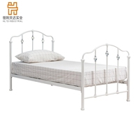 Best Selling Bedroom Furniture Wrought Iron Modern white color crystal Metal Bed