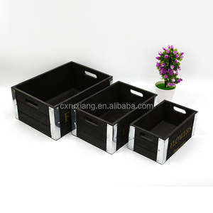 Black color solid wood outdoor garden tool storage box