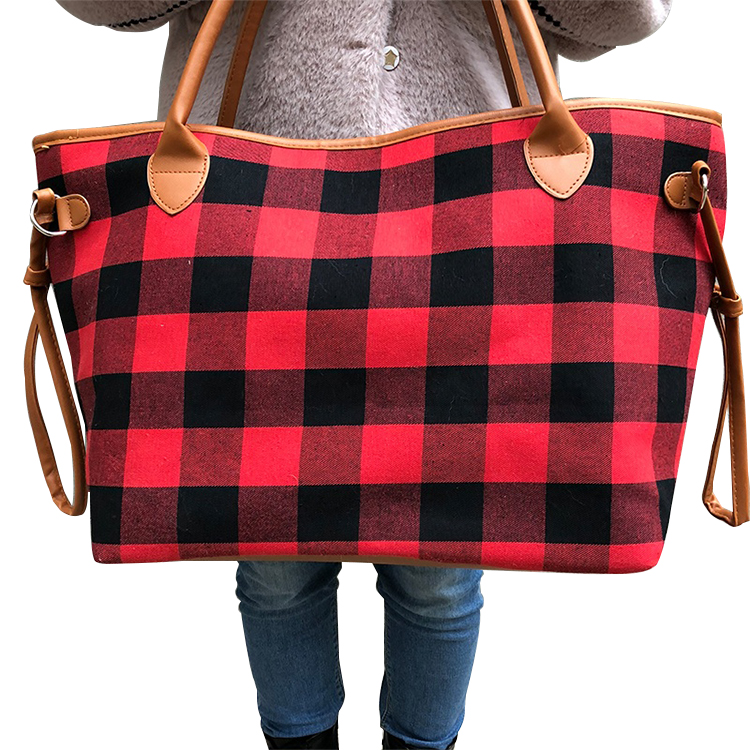 Discount Dame Mode Monogramm Hohe Kapazität Buffalo Rot Plaid Tote Tasche