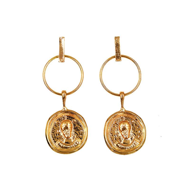 70cafa0c3cb97c Nuova Delle Donne Placcato Oro In Rilievo Testa Umana Moneta Orecchini di  Goccia Vintage Chic Stile
