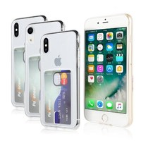 Ultra thin transparent soft TPU protective card holder phone case for iPhone X XR XS Max case cover
