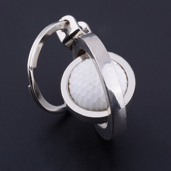 Wholesale stock 3D design high quality golf ball club round metal keychain