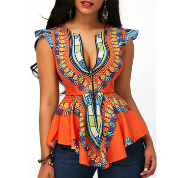 Dongguan Latest Summer Fashion Sleeveless African Kitenge Top Design Girls' Woman Top Wholesale 2019