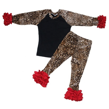 New designed baby girls ruffled clothing set wholesale kids leopard print 1st birthday outfit