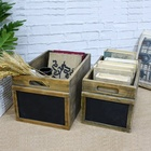 Vintage Rustic Natural Wood Finish Nesting Multipurpose Wooden Storage Crate Box W/ Erasable Chalkboard Signs