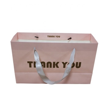 OEM Custom Shinny Pink Thank you Packaging Luxury Paper Gift Shopping Bag