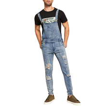 OEM Vintage Stijl Mannen Ripped Side Knop <span class=keywords><strong>Denim</strong></span> Overall