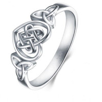 Hot sale classic euro-american heart shaped ring wish 925 silver plated Celtic knot engagement ring