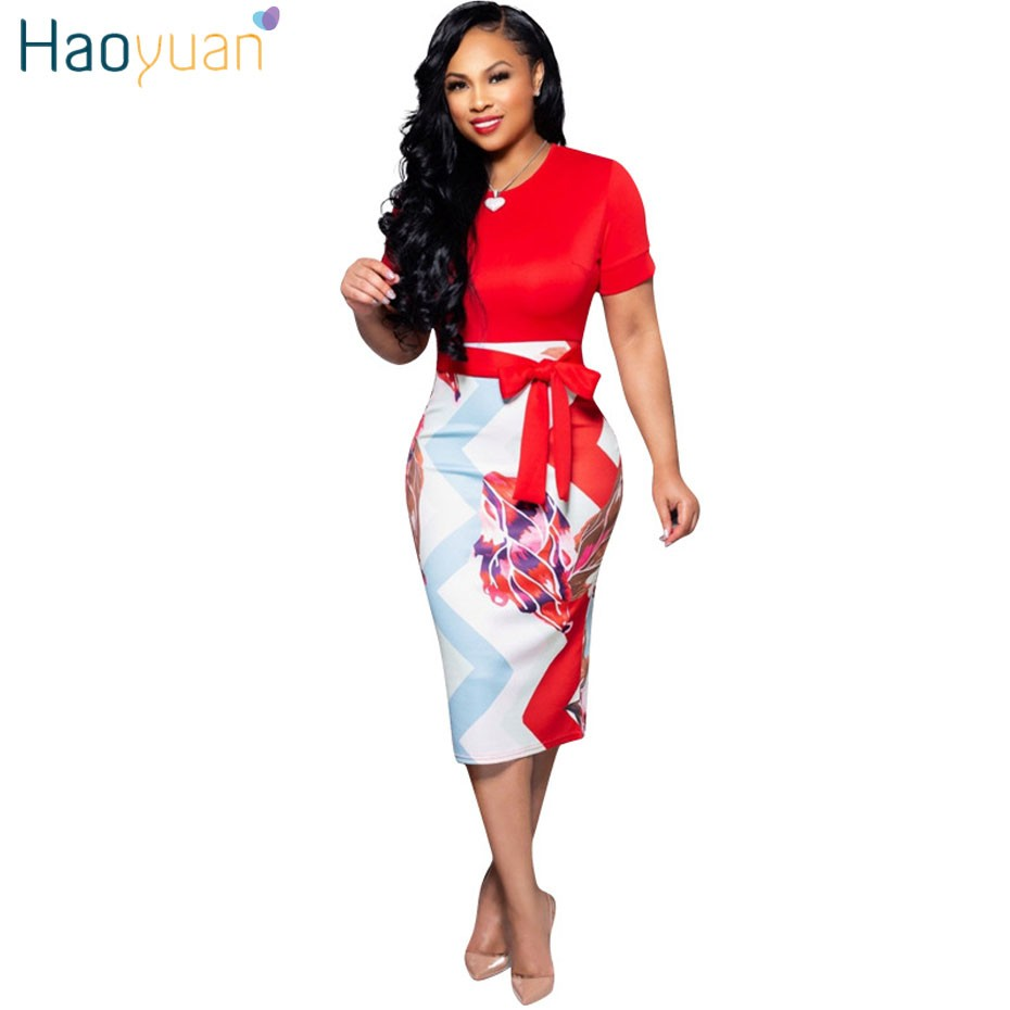d5d9f2aef8c Elegant Short Sleeve Bodycon Office Dress Women Clothes 2019 Summer Dress  Tunic Work Wear Evening Party Pencil Dresses.