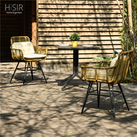 Hot selling metal bistro table chairs outdoor rattan furniture set