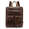 Vintage genuine leather travel laptop bag computer backpack for male
