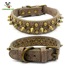 Coffee Blue Leather Rivet Spike Dog Collar Pets Accesory Adjustable Pet Collar For Small Large Dog