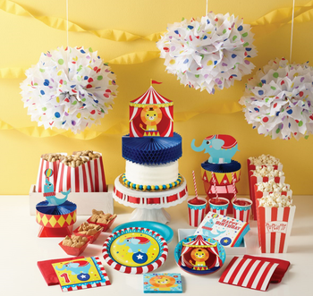 Wholesale event circus themed party supplies and favors set for kids, circus party supplies party tableware for kids