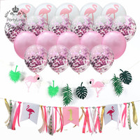 Hawaii Flamingo Tropical Birthday Themed Party Supplies For Summer Beach Garland Decorations