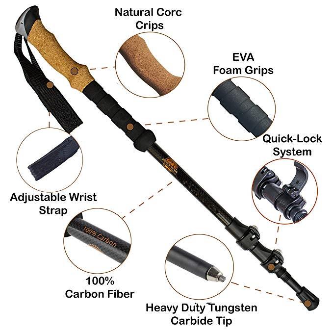 Outdoor Ultralight Carbon Hiking Stick Stretching Folding Mountain Walking Stick , Trekking Pole
