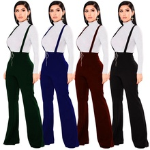 <strong>Women</strong> OEM High Quality Elegant Long Wide Leg <strong>pants</strong> Flared Suspender <strong>Trousers</strong>
