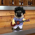 Pet Dog Clothes Funny Rock Guitar Singer Cosplay Costume T-shirt For Puppy Cat Party Halloween
