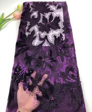 Tofine Borduren purple Sequin Kralen Netto Franse <span class=keywords><strong>Kant</strong></span> Stof Nigeriaanse Wedding Party Sequin Afrikaanse Fluwelen <span class=keywords><strong>Kant</strong></span>