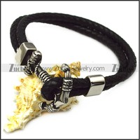 Fashion Stainless Steel Anchor Leather Bracelet Sailor Jewelry