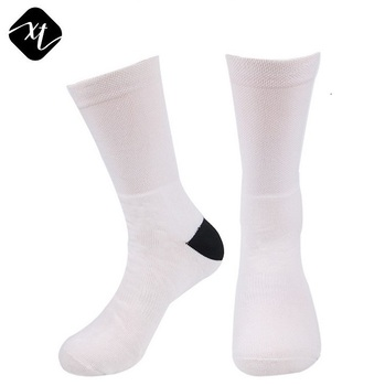 custom printing design crew terry white sublimation blank socks