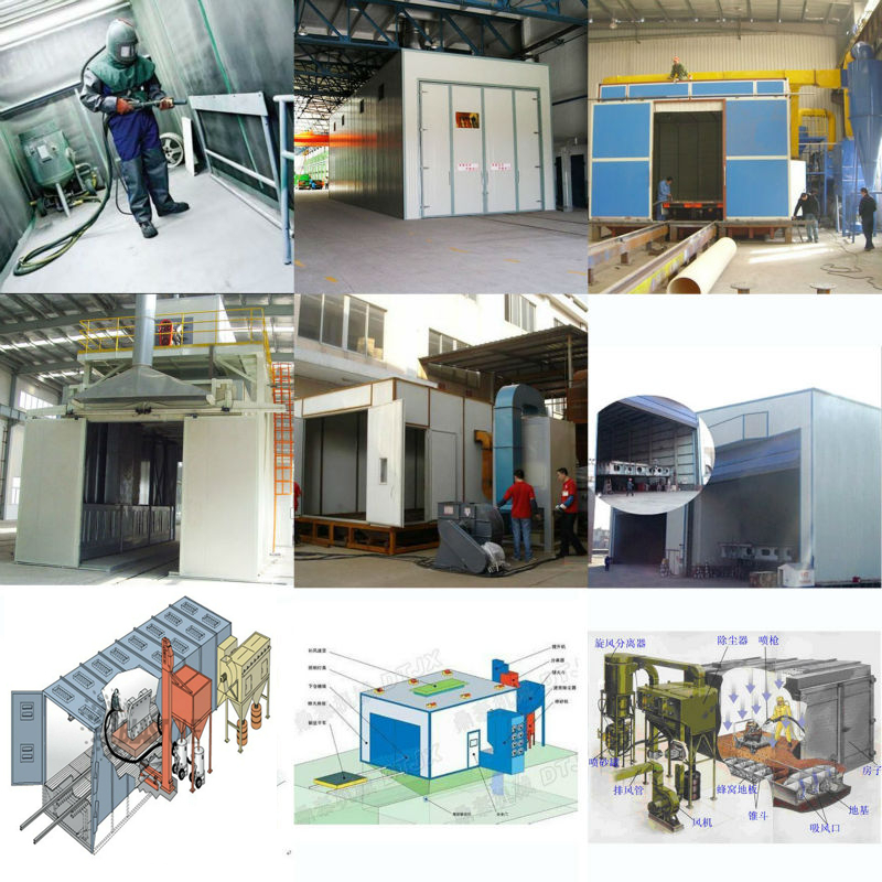 General Industrial Equipment manual sand blasting booth/room with screw recycling system