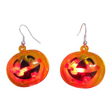 Halloween flashing LED pumpkin earring/light up led earring
